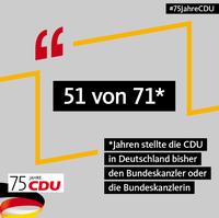 Bild vergrößern:Die CDU stellte und stellt die längste Zeit die Bundeskanzler bzw. die Bundeskanzlerin der Bundesrepublik Deutschland.