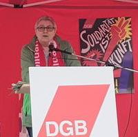 Bild vergrößern:Bei der DGB-Veranstaltung zum 01. Mai in Magdeburg sprach die stellv. DGB-Bundesvorsitzende und CDA-Bundesvorstandsmitglied Elke Hannack