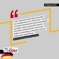 Bild vergrößern:Am 26. Juni konnte die CDU ihren 75. Geburtstag feiern.