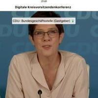 Bild vergrößern:Die CDU-Bundesvorsitzende Annegret Kramp-Karrenbauer bei der Digitalen Kreisvorsitzendenkonferenz am 15. September diesen Jahres.