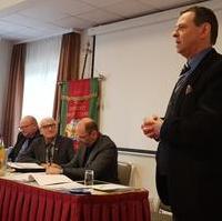 Bild vergrößern:Der CDU-Stadtrat Bernd Heynemann (g.r.) sprach am 23. Februar 2020 bei der Jahresversammlung des Vereins selbstständiger Gewerbetreibender, Markt- und Messereisender e.V..
