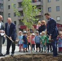 Bild vergrößern:Gemeinsam pflanzen am 29. Juni Ministerpräsident Dr. Reiner Haseloff MdL (l.) und Tobias Krull MdL (r.) einen Apfelbaum im Generationengarten des Generationenprojektes Heumarkt