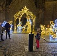 Bild vergrößern:Gerade (27.11) wurden die Lichter der Krippenfiguren vor dem Magdeburger Dom entzündet