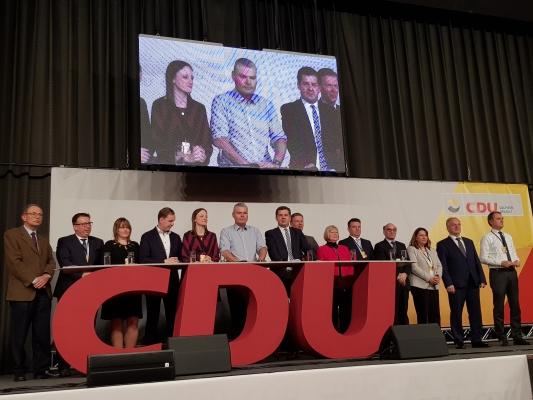 Abschlussbild beim 16. Landesausschuss der CDU Sachsen-Anhalt der in Magdeburg am 07. Dezember stattfand.