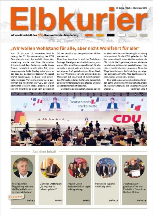 Die neuste Ausgabe des Elbkuriers steht unter https://www.cdu-magdeburg.de/upload/kreisverband/dokumente/elbkurier/2019-04.pdf zum download bereit.