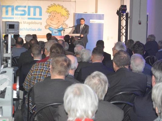 Rund 200 Gäste folgten am 07. Januar der Einladung zum gemeinsamen Neujahrsempfang der Mittelstands- und Wirtschaftsunion und der CDU Magdeburg bei der Firma Max Schlutius.