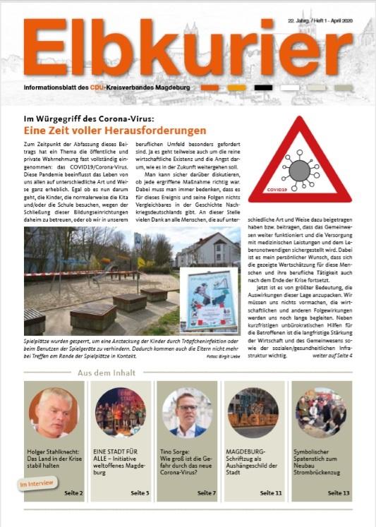 Die Ausgabe 01/2020 der Magdeburger CDU-Zeitschrift Elbkurier ist nun unter https://bit.ly/2VhKqm0 online verfügbar.
