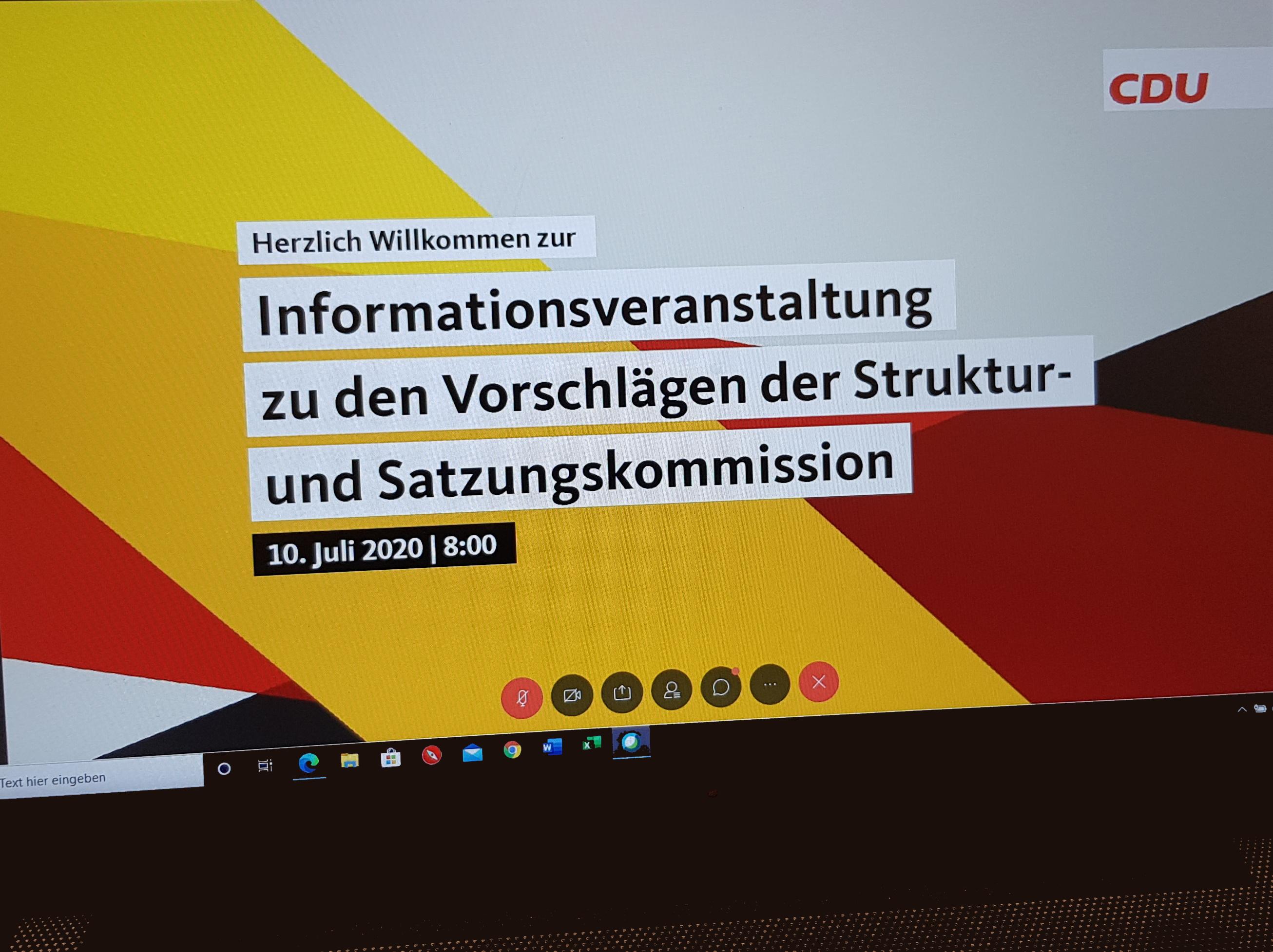 Am 10. Juli fand eine Videokonferenz der CDU-Kreisvorsitzenden statt. Dort wurden die Ergebnisse der Struktur- und Satzungskommission vorgestellt.