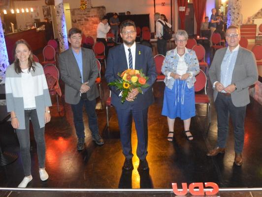 Am 09.09. wurde Tobias Krull (m.) erneut als CDU-Kandidat für den Direktwahlkreis MD II (Mitte/Ostelbien) nominiert. zu sehen Anna Kreye (Landesvorsitzende JU), Dr. Michael Lehmann (Vors. CDU-OV Mitte), Tobias Krull MdL, Anne-Marie Keding und Tino Sorge MdB (v.l.n.r.)