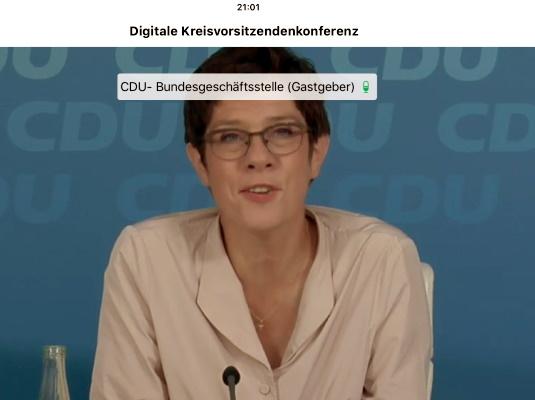 Die CDU-Bundesvorsitzende Annegret Kramp-Karrenbauer bei der Digitalen Kreisvorsitzendenkonferenz am 15. September diesen Jahres.
