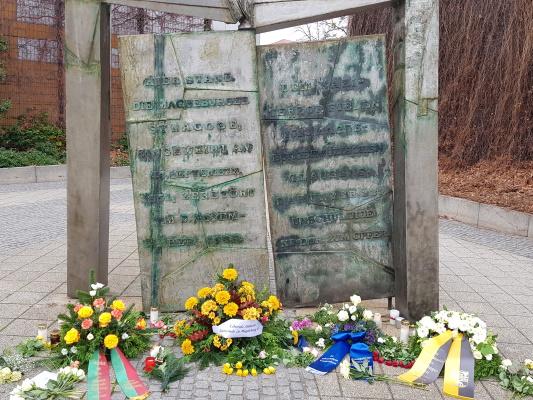 Das Denkmal am ehemaligen Standort der Magdeburger Synagoge.