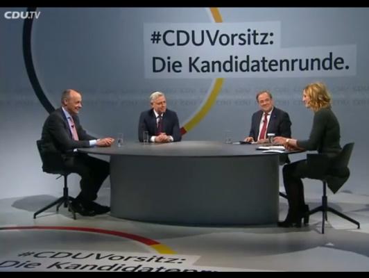Am 14. Dezember stellten sich die drei bekannten Bewerber um den Vorsitz der CDU Deutschlands einem Online TV-Duell.