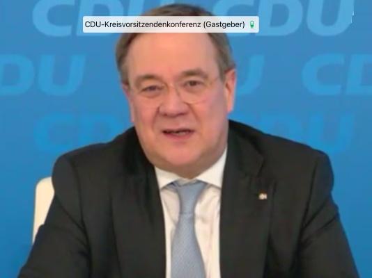 Der CDU-Bundesvorsitzende Armin Laschet MdL bei der digitalen CDU-Kreisvorsitzenden am 25. März.