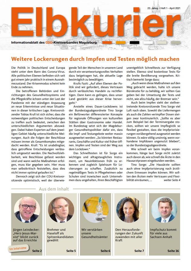 Unter https://bit.ly/2QBVLi0 findet man die Ausgabe 01/2021 der Magdeburger CDU-Zeitschrift \\\