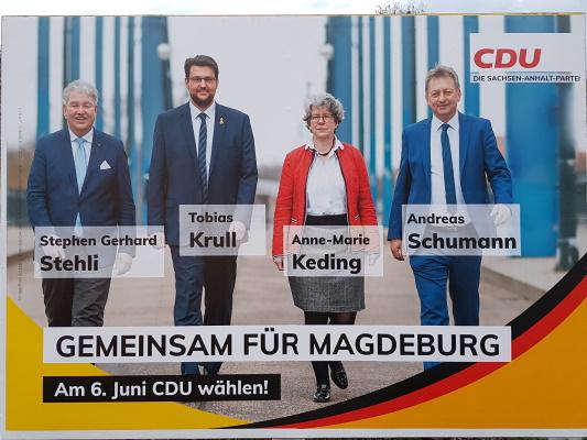Die gemeinsame Großfläche der Magdeburger CDU-Landtagskandidaten.