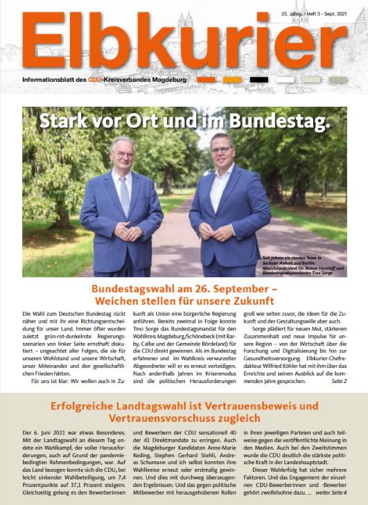 Die neuste Ausgabe der Magdeburger CDU-Zeitschrift ELBKURIER ist nun unter https://bit.ly/3kUS8zd abrufbar.